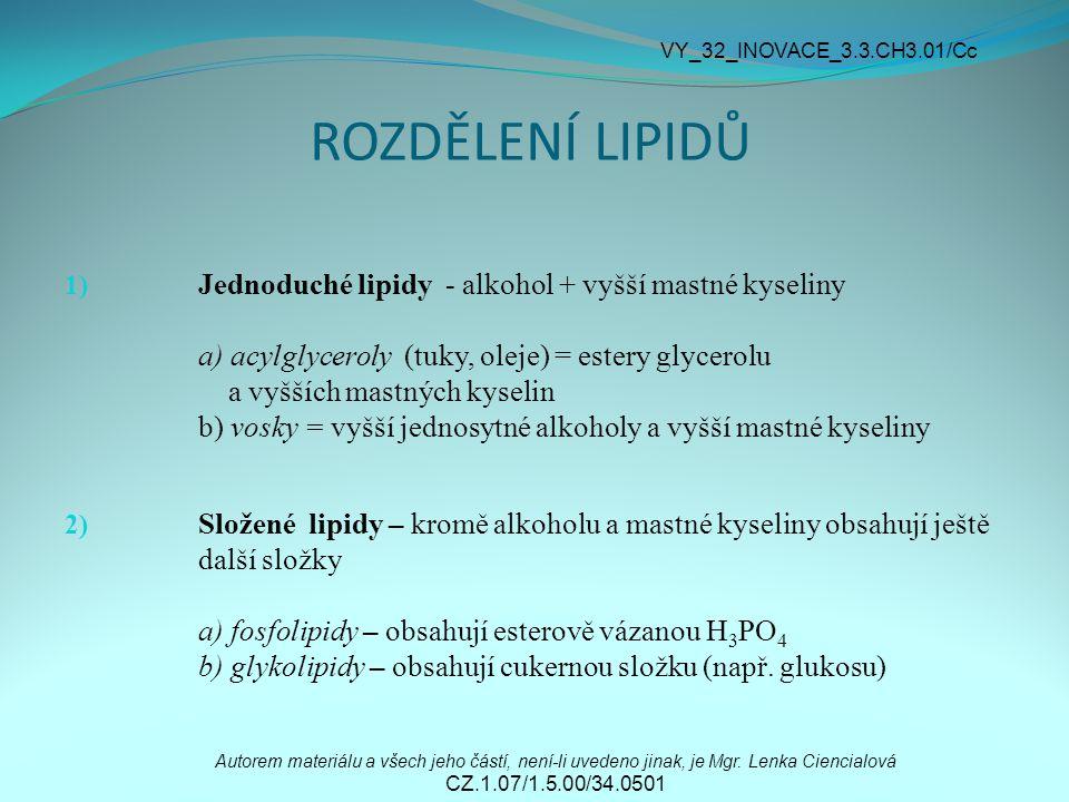 ROZDĚLENÍ LIPIDŮ 1) Jednoduché lipidy - alkohol + vyšší mastné kyseliny a) acylglyceroly (tuky, oleje) = estery glycerolu a vyšších mastných kyselin b