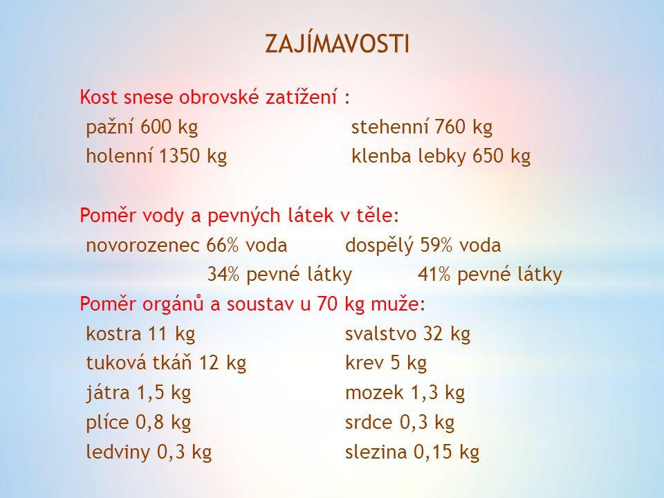 ZAJÍMAVOSTI Kost snese obrovské zatížení : pažní 600 kg stehenní 760 kg holenní 1350 kg klenba lebky 650 kg Poměr vody a pevných látek v těle: novorozenec 66% voda dospělý 59% voda 34% pevné látky 41% pevné látky Poměr orgánů a soustav u 70 kg muže: kostra 11 kgsvalstvo 32 kg tuková tkáň 12 kgkrev 5 kg játra 1,5 kgmozek 1,3 kg plíce 0,8 kgsrdce 0,3 kg ledviny 0,3 kgslezina 0,15 kg