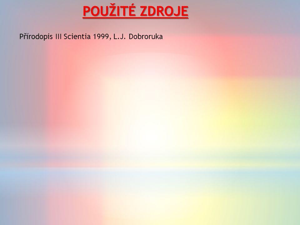POUŽITÉ ZDROJE Přírodopis III Scientia 1999, L.J. Dobroruka