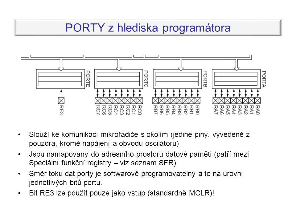 PORTY z hlediska programátora Slouží ke komunikaci mikrořadiče s okolím (jediné piny, vyvedené z pouzdra, kromě napájení a obvodu oscilátoru) Jsou namapovány do adresního prostoru datové paměti (patří mezi Speciální funkční registry – viz seznam SFR) Směr toku dat porty je softwarově programovatelný a to na úrovni jednotlivých bitů portu.