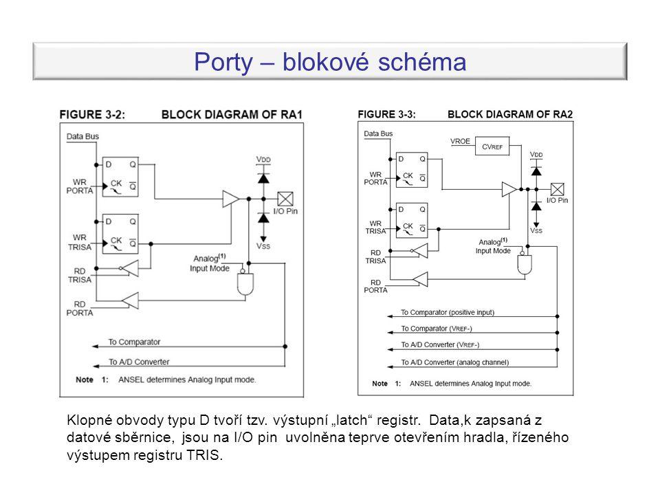 Porty – blokové schéma Klopné obvody typu D tvoří tzv.