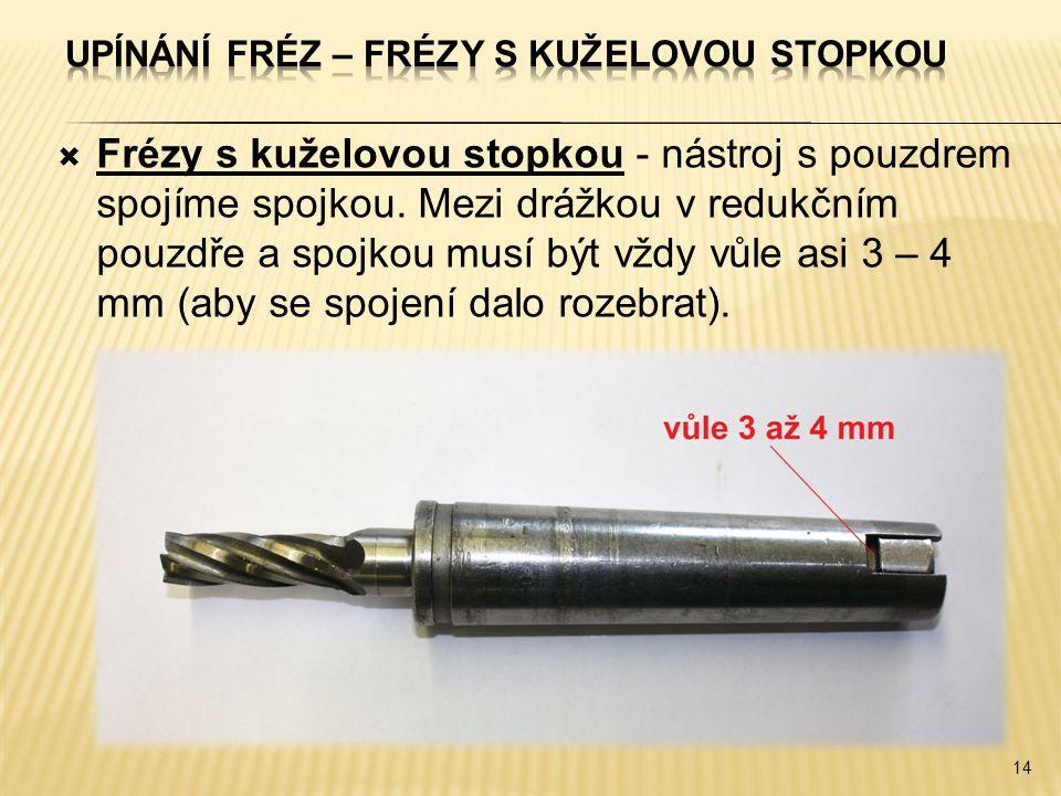  Frézy s kuželovou stopkou - nástroj s pouzdrem spojíme spojkou.