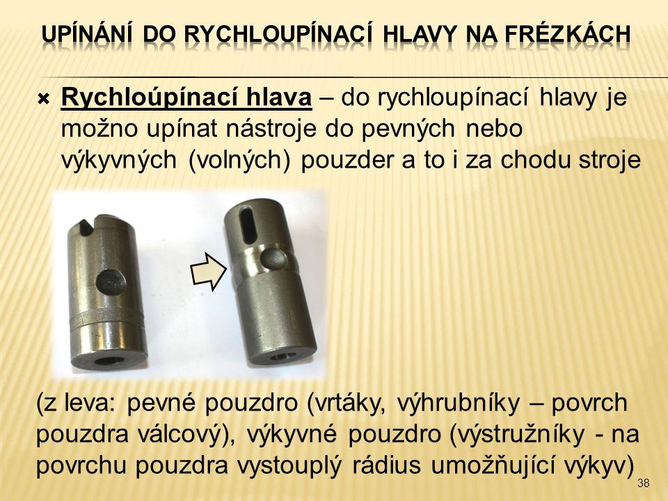  Rychloúpínací hlava – do rychloupínací hlavy je možno upínat nástroje do pevných nebo výkyvných (volných) pouzder a to i za chodu stroje (z leva: pevné pouzdro (vrtáky, výhrubníky – povrch pouzdra válcový), výkyvné pouzdro (výstružníky - na povrchu pouzdra vystouplý rádius umožňující výkyv) 38