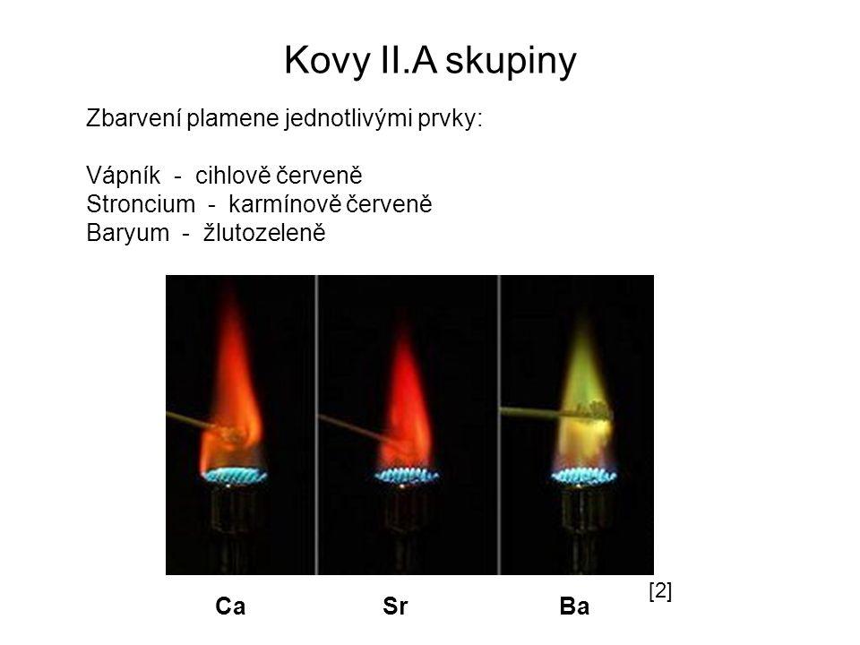 Kovy II.A skupiny Zbarvení plamene jednotlivými prvky: Vápník - cihlově červeně Stroncium - karmínově červeně Baryum - žlutozeleně Ca Sr Ba [2]