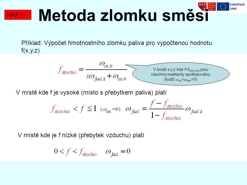 NAP11 Metoda zlomku směsi Příklad: Výpočet hmotnostního zlomku paliva pro vypočtenou hodnotu f(x,y,z) V místě kde f je vysoké (místo s přebytkem paliv
