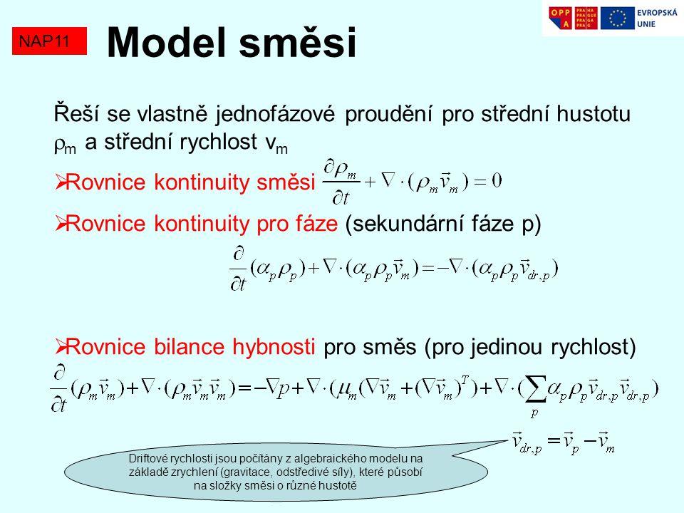 NAP11 Model směsi Řeší se vlastně jednofázové proudění pro střední hustotu  m a střední rychlost v m  Rovnice kontinuity směsi  Rovnice kontinuity