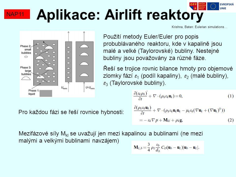 NAP11 Aplikace: Airlift reaktory Použití metody Euler/Euler pro popis probublávaného reaktoru, kde v kapalině jsou malé a velké (Taylorovské) bubliny.