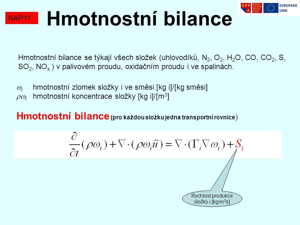 NAP11 Hmotnostní bilance Rychlost produkce složek S i je řízena dvěma mechanizmy:  Difúzí složek (mikromísení) – t diffusion (časová konstanta difúze)  Chemickou kinetikou (rychlostní rovnicí pro perfektně promísené reaktanty) – t reaction (reakční konstanta) Damkohlerovo číslo Da<<1 Da>>1 Reakce řízení kinetikou (Arrhenius) Spalování řízené difúzí (turbulentní) Podle toho, který mechanizmus dominuje (tj.