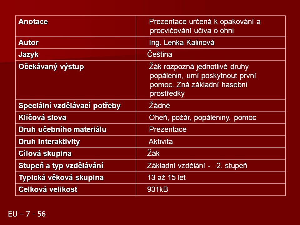 Oheň Ing. Lenka Kalinová