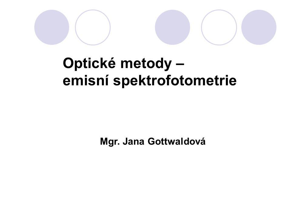 Optické metody – emisní spektrofotometrie Mgr. Jana Gottwaldová