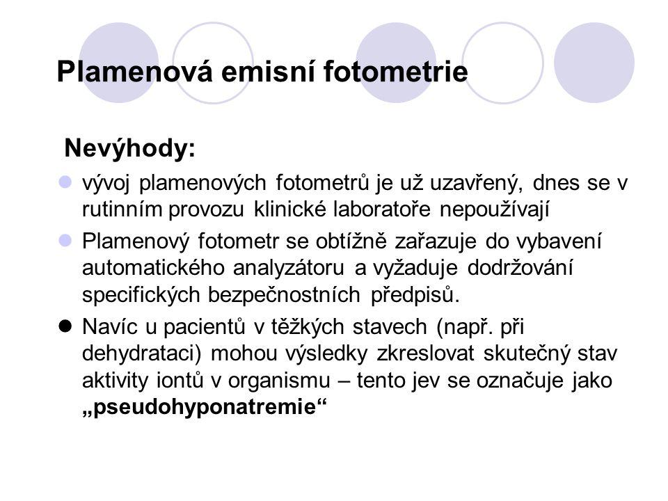 Plamenová emisní fotometrie Nevýhody: vývoj plamenových fotometrů je už uzavřený, dnes se v rutinním provozu klinické laboratoře nepoužívají Plamenový