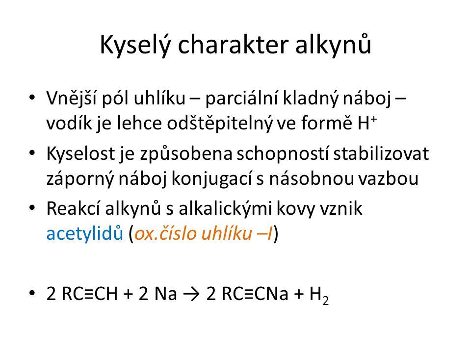 Kyselý charakter alkynů Vnější pól uhlíku – parciální kladný náboj – vodík je lehce odštěpitelný ve formě H + Kyselost je způsobena schopností stabilizovat záporný náboj konjugací s násobnou vazbou Reakcí alkynů s alkalickými kovy vznik acetylidů (ox.číslo uhlíku –I) 2 RC≡CH + 2 Na → 2 RC≡CNa + H 2