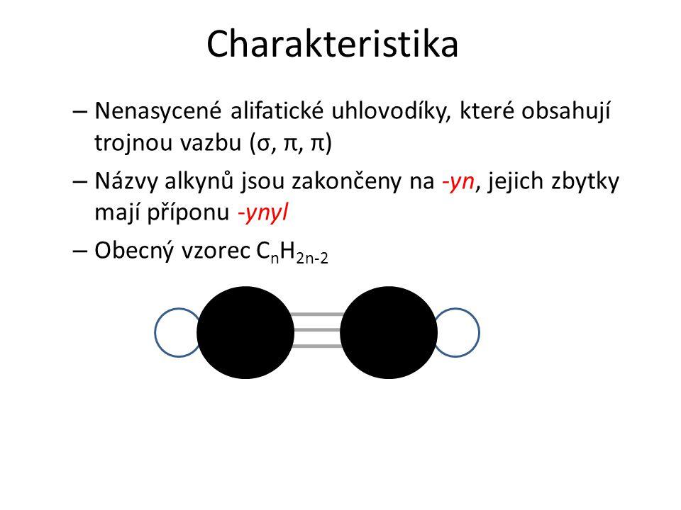Charakteristika – Nenasycené alifatické uhlovodíky, které obsahují trojnou vazbu (σ, π, π) – Názvy alkynů jsou zakončeny na -yn, jejich zbytky mají příponu -ynyl – Obecný vzorec C n H 2n-2