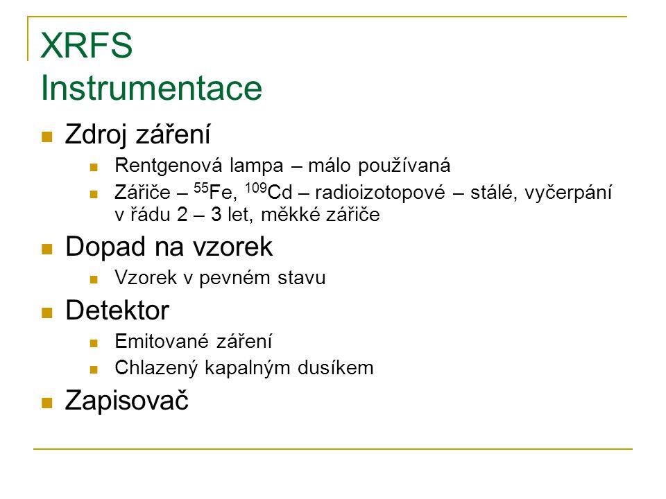 XRFS Instrumentace Zdroj záření Rentgenová lampa – málo používaná Zářiče – 55 Fe, 109 Cd – radioizotopové – stálé, vyčerpání v řádu 2 – 3 let, měkké z