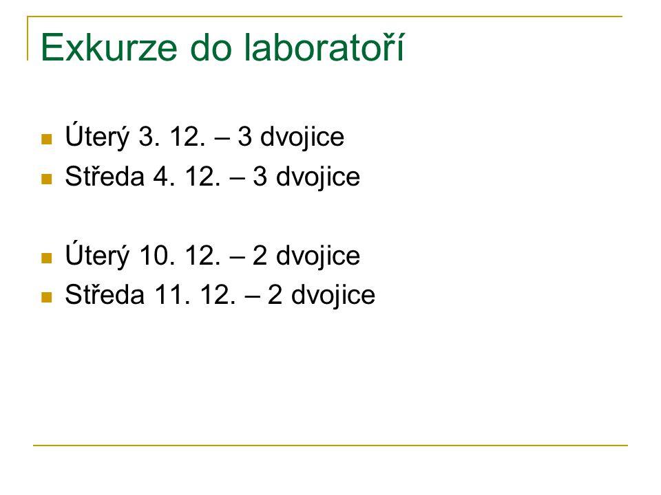 Exkurze do laboratoří Úterý 3. 12. – 3 dvojice Středa 4. 12. – 3 dvojice Úterý 10. 12. – 2 dvojice Středa 11. 12. – 2 dvojice
