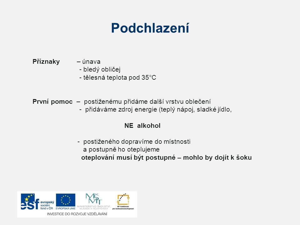 Podchlazení Příznaky – únava - bledý obličej - tělesná teplota pod 35°C První pomoc – postiženému přidáme další vrstvu oblečení - přidáváme zdroj ener