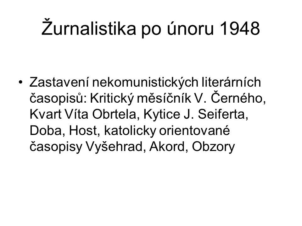Žurnalistika po únoru 1948 Zastavení nekomunistických literárních časopisů: Kritický měsíčník V. Černého, Kvart Víta Obrtela, Kytice J. Seiferta, Doba