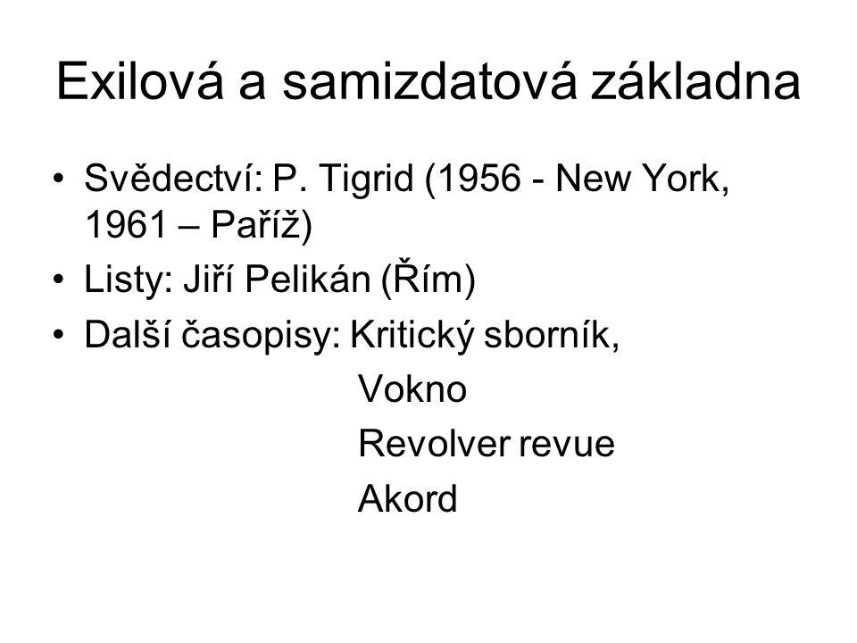 Exilová a samizdatová základna Svědectví: P. Tigrid (1956 - New York, 1961 – Paříž) Listy: Jiří Pelikán (Řím) Další časopisy: Kritický sborník, Vokno