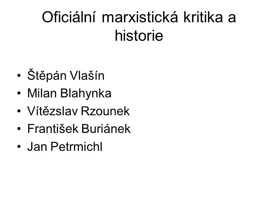 Oficiální marxistická kritika a historie Štěpán Vlašín Milan Blahynka Vítězslav Rzounek František Buriánek Jan Petrmichl