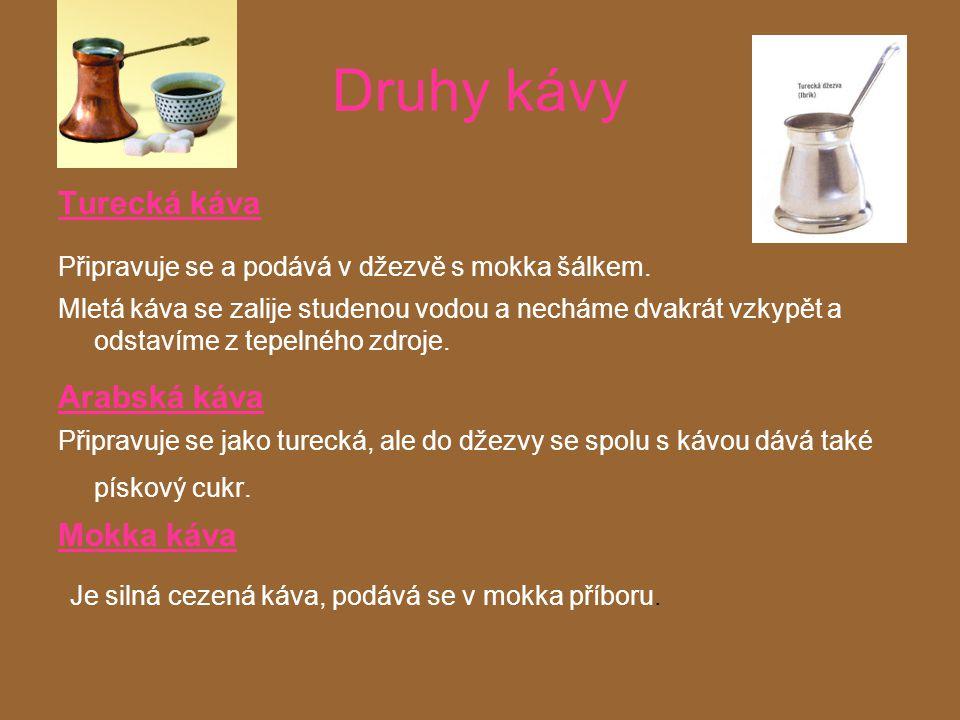 Druhy kávy Kapaná káva Černá káva připravovaná a podávaná ve dvoudílném příboru.