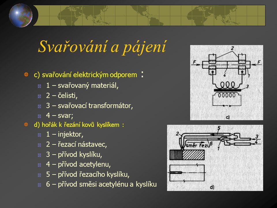 Svařování a pájení Svařování a) svařování plamenem : 1 – svařovaný materiál, 2 – svařovací hořák, 3 – hadice, 4 – lahvový ventil, 5 – redukční ventil,