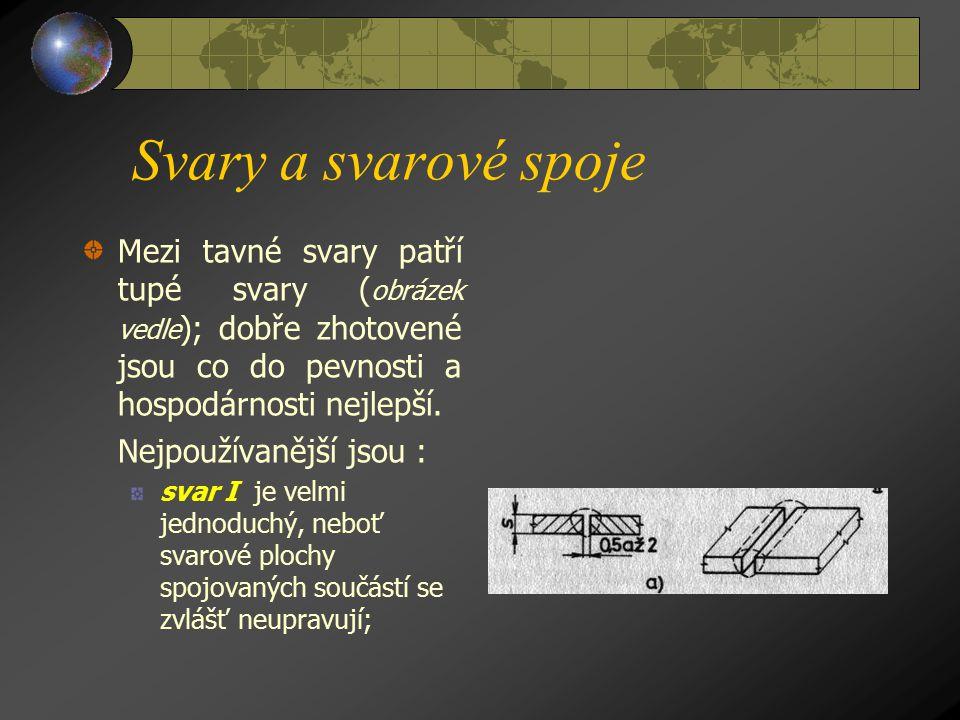 Svary a svarové spoje Mezi tavné svary patří tupé svary ( obrázek vedle ); dobře zhotovené jsou co do pevnosti a hospodárnosti nejlepší.