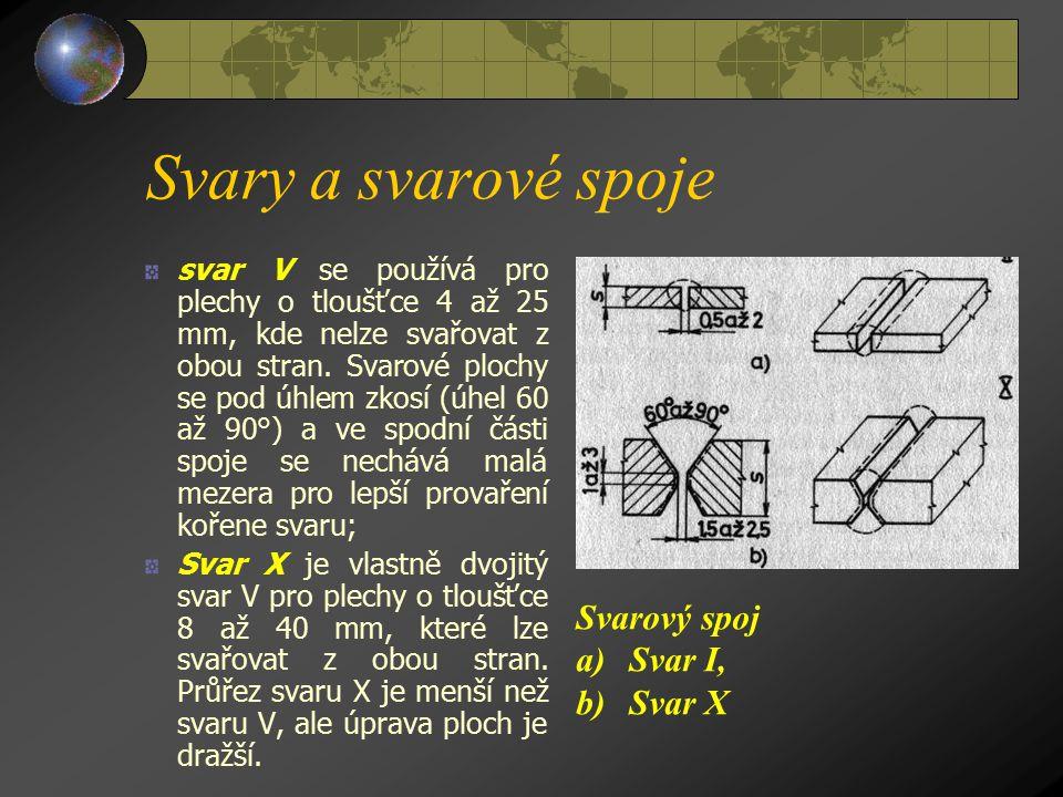 Svary a svarové spoje svar V se používá pro plechy o tloušťce 4 až 25 mm, kde nelze svařovat z obou stran.