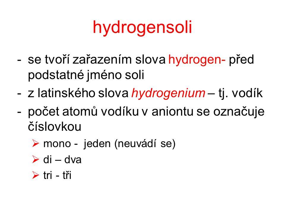 Kyselina sírová H 2 SO 4 -odštěpením dvou atomů vodíku vznikají síranové anionty -odštěpením jednoho atomu vodíku vznikají hydrogensíranové anionty -HSO 4 H2H2 SO 4 - SO 4 2-