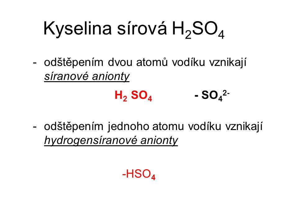 Kyselina sírová poskytuje dva druhy solí a) sírany –SO 4 2- b) hydrogensírany –HSO 4 -