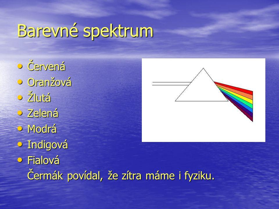 Barevné spektrum Červená Červená Oranžová Oranžová Žlutá Žlutá Zelená Zelená Modrá Modrá Indigová Indigová Fialová Fialová Čermák povídal, že zítra máme i fyziku.