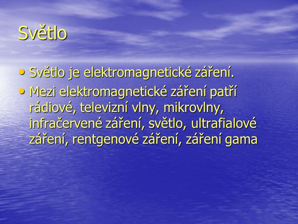 Světlo Světlo je elektromagnetické záření. Světlo je elektromagnetické záření. Mezi elektromagnetické záření patří rádiové, televizní vlny, mikrovlny,