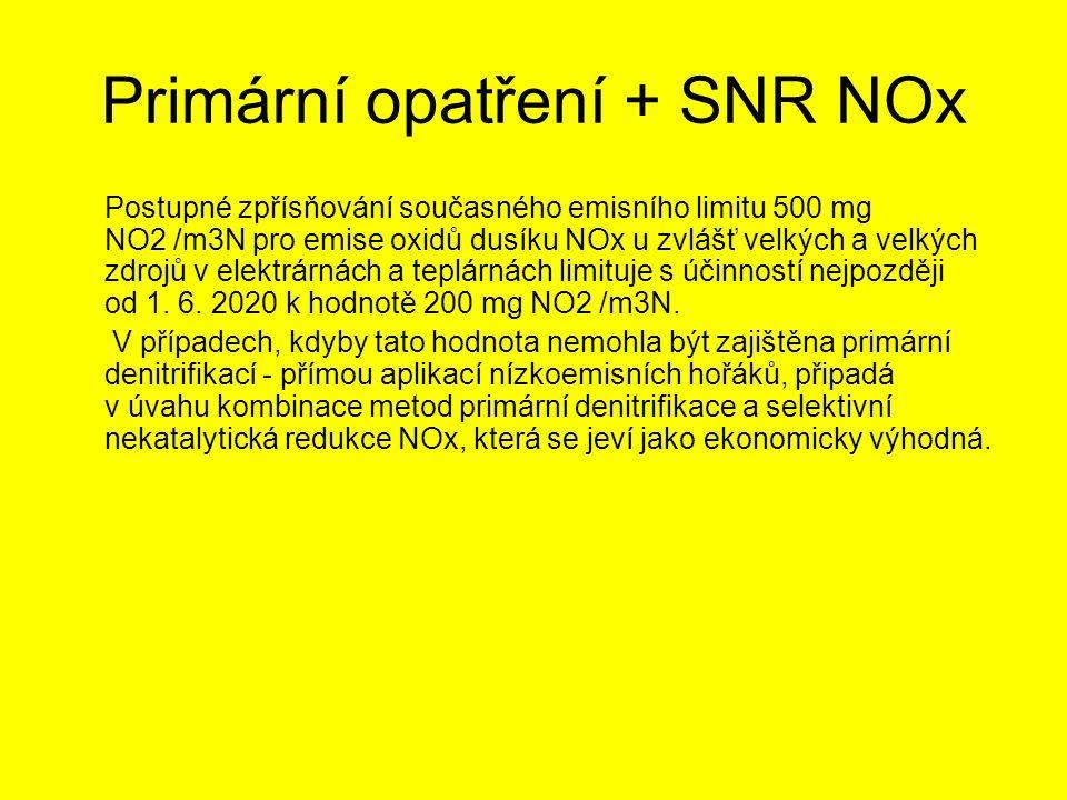 Primární opatření + SNR NOx Postupné zpřísňování současného emisního limitu 500 mg NO2 /m3N pro emise oxidů dusíku NOx u zvlášť velkých a velkých zdro