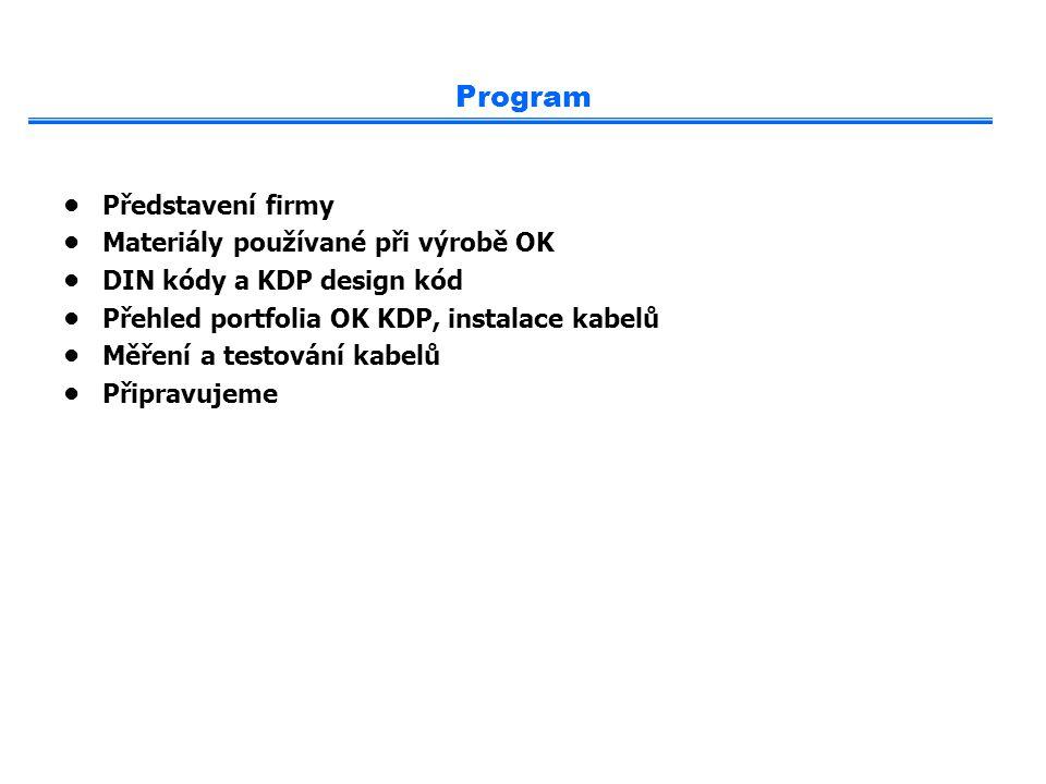 Program Představení firmy Materiály používané při výrobě OK DIN kódy a KDP design kód Přehled portfolia OK KDP, instalace kabelů Měření a testování ka