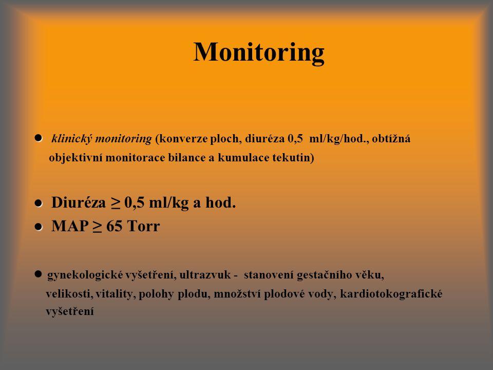 ● ● klinický monitoring (konverze ploch, diuréza 0,5 ml/kg/hod., obtížná objektivní monitorace bilance a kumulace tekutin) ● ● Diuréza ≥ 0,5 ml/kg a hod.