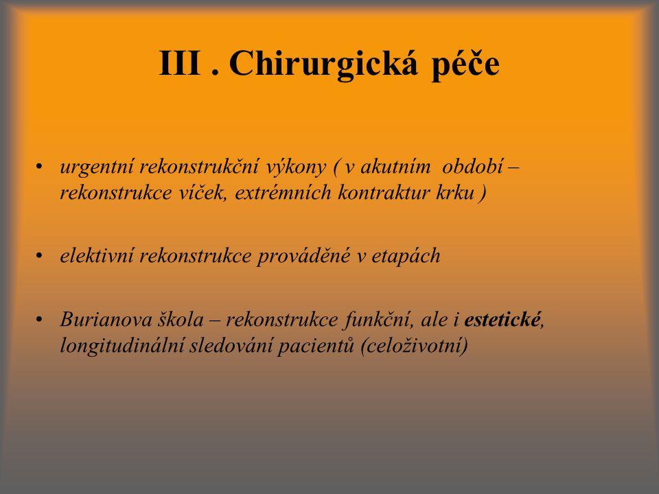 III. Chirurgická péče urgentní rekonstrukční výkony ( v akutním období – rekonstrukce víček, extrémních kontraktur krku ) elektivní rekonstrukce prová
