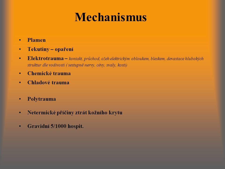 Mechanismus Plamen Tekutiny – opaření Elektrotrauma – kontakt, průchod, ožeh elektrickým obloukem, bleskem, devastace hlubokých struktur dle vodivosti ( sestupně nervy, cévy, svaly, kosti) Chemické trauma Chladové trauma Polytrauma Netermické příčiny ztrát kožního krytu Gravidní 5/1000 hospit.