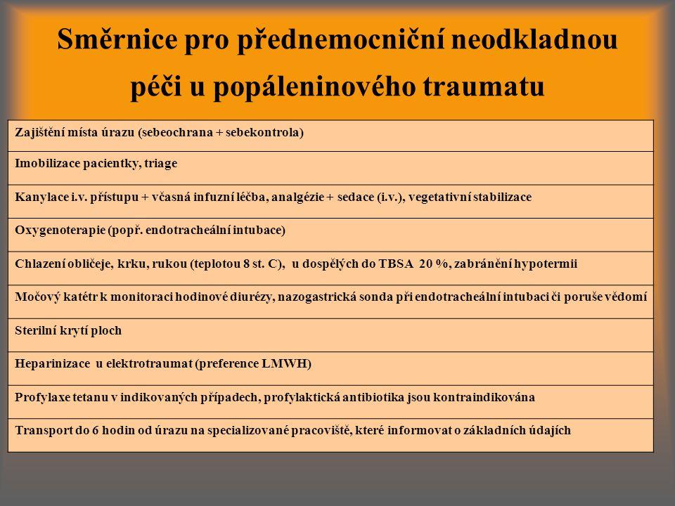 Směrnice pro přednemocniční neodkladnou péči u popáleninového traumatu Zajištění místa úrazu (sebeochrana + sebekontrola) Imobilizace pacientky, triage Kanylace i.v.