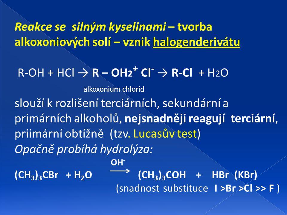 Reakce se silným kyselinami – tvorba alkoxoniových solí – vznik halogenderivátu R-OH + HCl → R – OH 2 + Cl - → R-Cl + H 2 O alkoxonium chlorid slouží