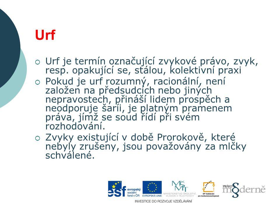 Urf  Urf je termín označující zvykové právo, zvyk, resp.