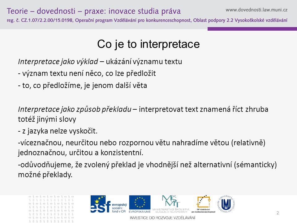 2 Co je to interpretace Interpretace jako výklad – ukázání významu textu - význam textu není něco, co lze předložit - to, co předložíme, je jenom dalš