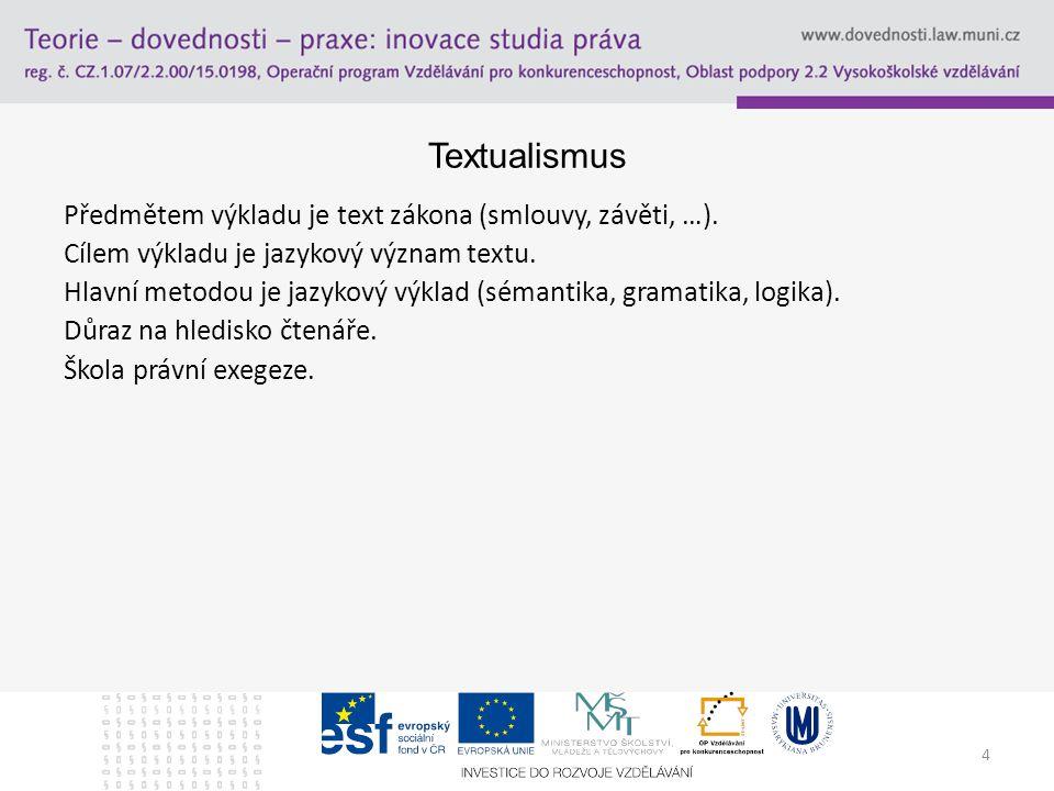 4 Textualismus Předmětem výkladu je text zákona (smlouvy, závěti, …). Cílem výkladu je jazykový význam textu. Hlavní metodou je jazykový výklad (séman