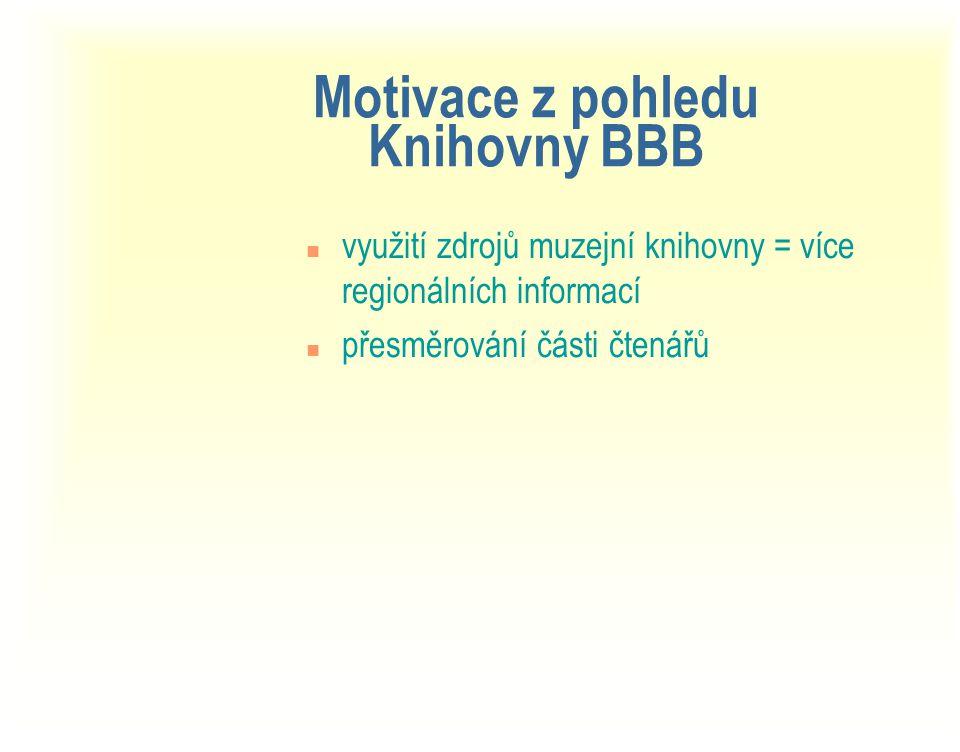 Motivace z pohledu Knihovny BBB n využití zdrojů muzejní knihovny = více regionálních informací n přesměrování části čtenářů