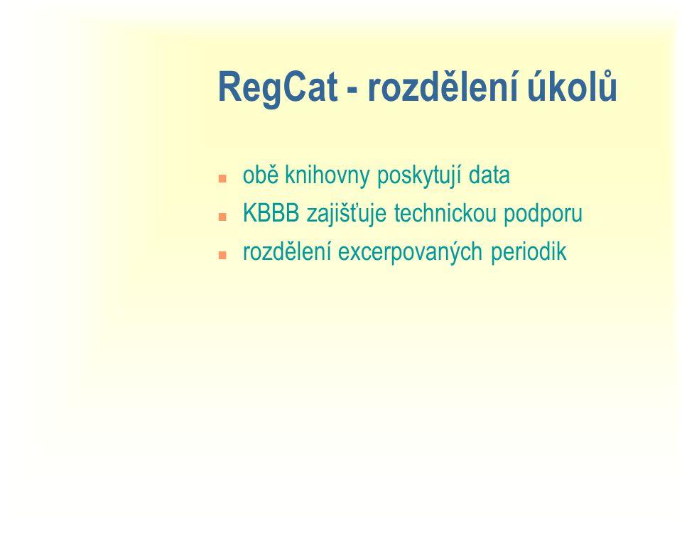 RegCat - rozdělení úkolů n obě knihovny poskytují data n KBBB zajišťuje technickou podporu n rozdělení excerpovaných periodik