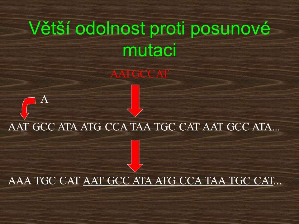 Větší odolnost proti posunové mutaci AAT GCC ATA ATG CCA TAA TGC CAT AAT GCC ATA... AAA TGC CAT AAT GCC ATA ATG CCA TAA TGC CAT... A AATGCCAT