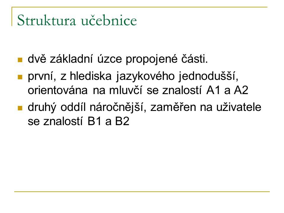 Struktura učebnice dvě základní úzce propojené části. první, z hlediska jazykového jednodušší, orientována na mluvčí se znalostí A1 a A2 druhý oddíl n