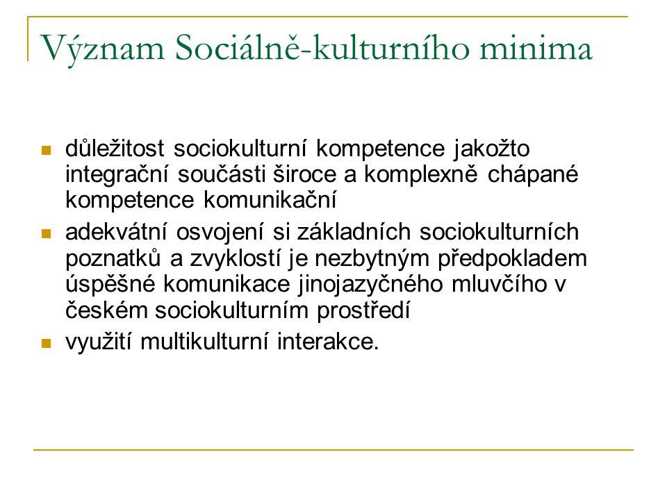 Význam Sociálně-kulturního minima důležitost sociokulturní kompetence jakožto integrační součásti široce a komplexně chápané kompetence komunikační ad