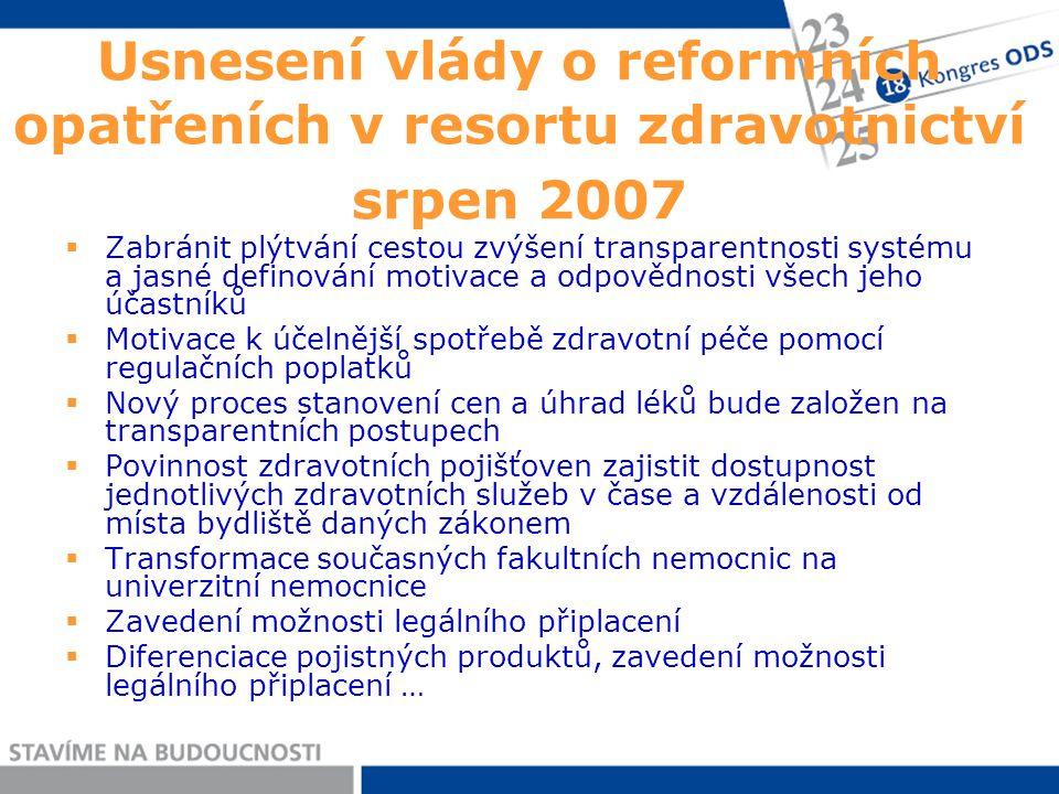 Usnesení vlády o reformních opatřeních v resortu zdravotnictví srpen 2007  Zabránit plýtvání cestou zvýšení transparentnosti systému a jasné definová