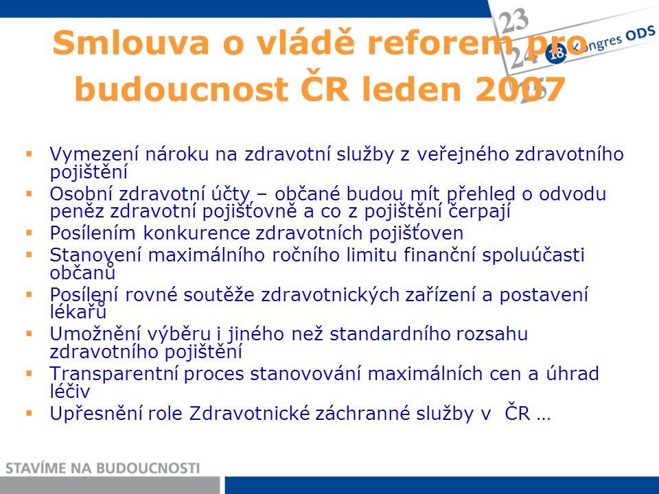 Smlouva o vládě reforem pro budoucnost ČR leden 2007  Vymezení nároku na zdravotní služby z veřejného zdravotního pojištění  Osobní zdravotní účty –