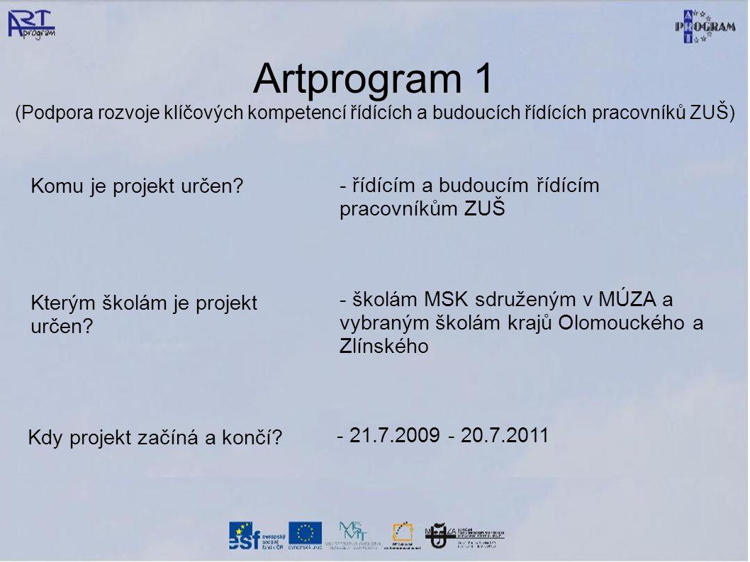 Artprogram 1 (Podpora rozvoje klíčových kompetencí řídících a budoucích řídících pracovníků ZUŠ) Komu je projekt určen.