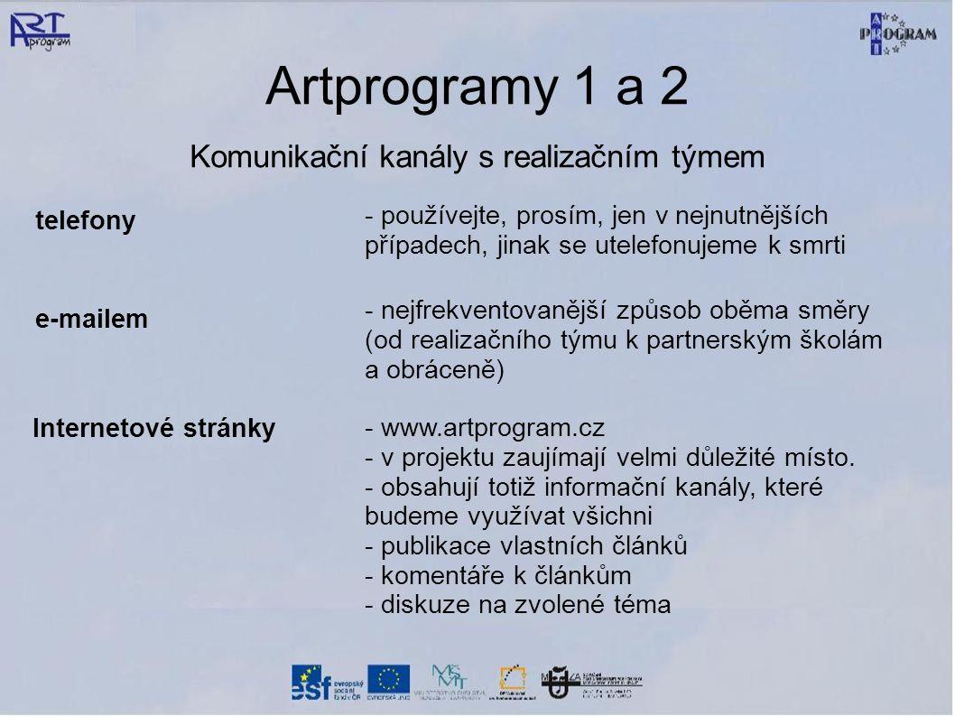 Artprogramy 1 a 2 Komunikační kanály s realizačním týmem telefony - používejte, prosím, jen v nejnutnějších případech, jinak se utelefonujeme k smrti e-mailem - nejfrekventovanější způsob oběma směry (od realizačního týmu k partnerským školám a obráceně) Internetové stránky - www.artprogram.cz - v projektu zaujímají velmi důležité místo.